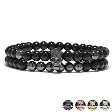 bracelet skull images Yuxi steampunk metal smile skull bracelets set elastic black beads jpg