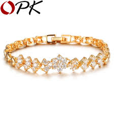 luxury bracelet gold chains images New fashion gold plated bracelets for women luxury white stones jpg