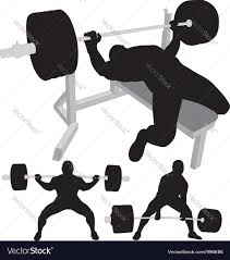 powerlifting bench press squat deadlift royalty free vector