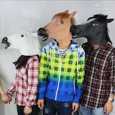 Latex Halloween Costume Creepy Horse Head Latex Mask Face Halloween Animal Rubber