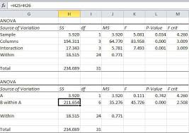 how to make anova table in excel two way two factor nested anova in excel qi macros