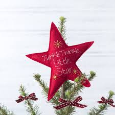 star christmas tree topper felt material red color embroidered