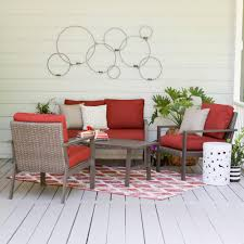 augusta 5 piece wicker outdoor sectional set with red cushions