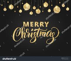 merry christmas card lettering glitter decoration stock vector