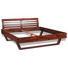 King Size Oak Bed Frame by Vidaxl Solid Acacia Wood Bed Frame King Size Vidaxl Com