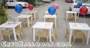 cheap tables and chairs for rent kiddie tables chairs for rent cebu balloons and party supplies