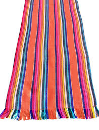 mexican fabric table runner colorful orange stripes u2013 mesachic