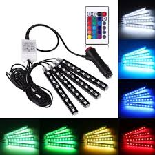 Automotive Led Light Strips 4pcs Car Interior Atmosphere Neon 9 Led Lights Strip 5050 Rgb Smd