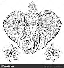 elephant in doodle style coloring page anti stress for adults and