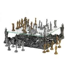 decorative chess set glass chess set dark battleground modern medieval war table large