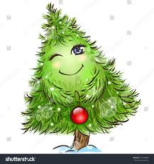 cute little christmas tree character red stock vector 122368483