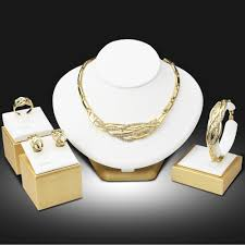 fashion jewelry necklace set images Dubai gold color jewelry sets nigerian wedding african beads jpg