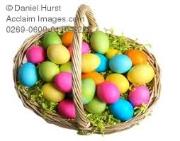 filled easter baskets stock photo of easter basket filled with colorful eggs