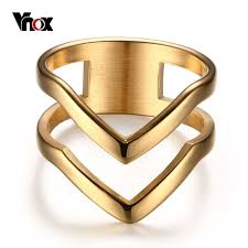 aliexpress buy vnox 2016 new wedding rings for women vnox chevron ring v shape ring gold color for women girl stainless