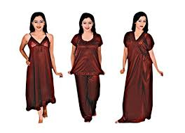 bridal honeymoon nightwear indiatrendzs womens bridal nighty maroon 4pc set honeymoon