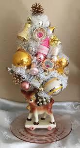 vintage reindeer planter bottle brush tree ornaments