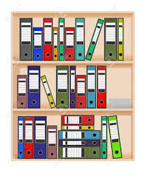 ring binders in office shelf royalty free cliparts vectors and