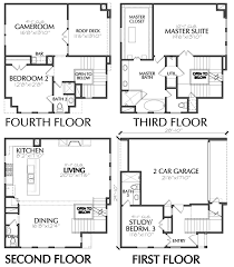 four level townhouse floor plan with master suite