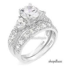 silver wedding rings 4 05 ct three sterling silver wedding engagement ring set on