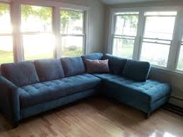 Blue Floor L Blue Tufted Sectional Sofa With Pillow And Black Wood Legs