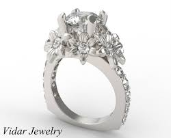 flower engagement rings three carat diamond flower engagement ring vidar jewelry