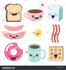 Cute Cup Designs Cute Illustrations Food Breakfast Icons Kawaii Stock Vector
