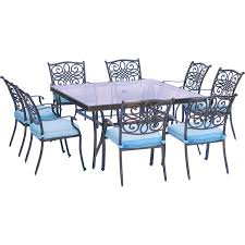 dining room sets 9 piece traditions 9 piece dining set in blue with 60 in square glass top