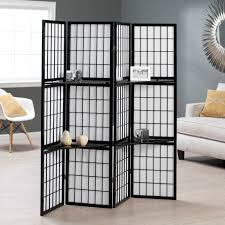 black shoji 4 panel screen room divider with display shelves