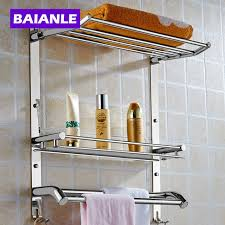 Wall Mounted Bathroom Shelves Wall Mount Stainless Steel 2 Layers Storage Basket Shower Room