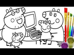 how to draw peppa pig family computer coloring pages kid drawing