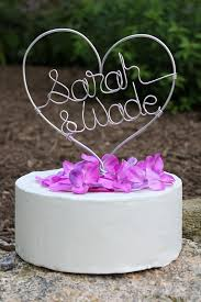 wire cake toppers custom wire heart names wedding cake topper jpg