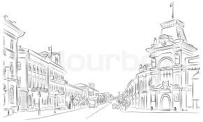 city streets and historic buildings outline sketch stock