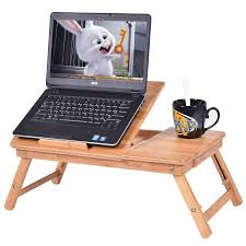 Laptop Desk Bed Costway Portable Bamboo Laptop Desk Table Folding Breakfast Bed