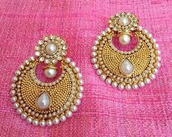 earrings online india buy pearl polki flower ethnic indian jewelry