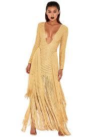 clothing bodycon dresses u0027dakota u0027 gold ribbon stitched fringed