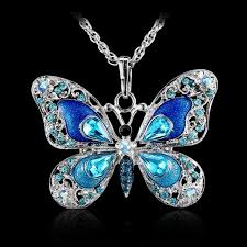 long silver fashion necklace images Beautiful rhinestone long butterfly necklaces sweater pendant jpg