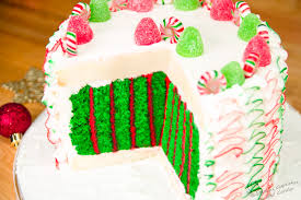 surprise inside christmas cake vertical striped cake