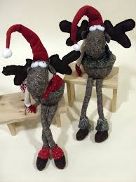 plush sitting christmas moose home decor accents holiday christmas
