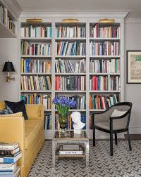 lighting for bookshelves family room traditional with brass
