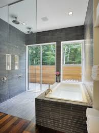 bathroom glass tile ideas beauteous glass tile back splash in bathroom with gray mosaic