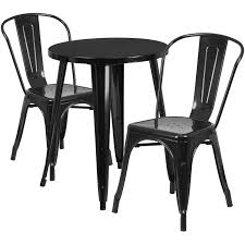 Black Metal Chairs Outdoor 24 U0027 U0027 Round Black Metal Indoor Outdoor Table Set With 2 Cafe Chairs