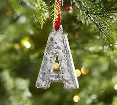 silver mercury letter ornaments pottery barn
