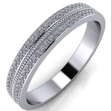 1mm wedding band two row 3 4 eternity micro pave 1mm diamond rope