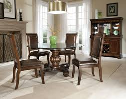 round glass dining room table brown fabric comfy back dining dining room round glass room table brown fabric comfy back chairs white oak laminate flooring