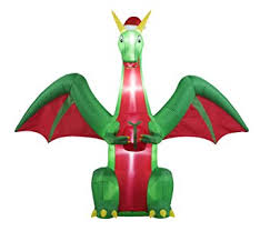 Outdoor Christmas Decorations Amazon by Amazon Com 8ft Inflatable Christmas Dragon Indoor Outdoor