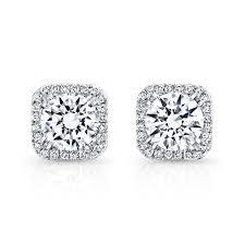 studded earrings 18k white gold square diamond halo stud earrings fm27621 18w