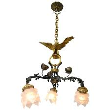 French Empire Chandelier Lighting Vintage Bronze French Empire Three Arm Eagle Chandelier Light