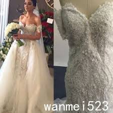 wedding dress with detachable mermaid wedding dress detachable skirt pearls shoulder luxury