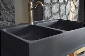 Black Granite Double Bowl Kitchen Sink KARMA SHADOW - Black granite kitchen sinks