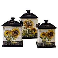 Country Canister Sets For Kitchen Certified International French Sunflowers 3 Piece Canister Set